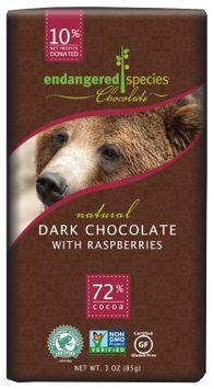 ENDANGERED SPECIES Dark Choc Bar Raspberries Grizzly 3 OZ