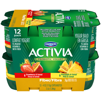 Activia® Fiber Strawberry Cereals And Pineapple Cereal Probiotic Yogurt