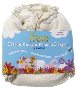 Kissaluvs Kissa's Cotton Fleece Fitted Diaper - Unbleached 0 - 1 ct.