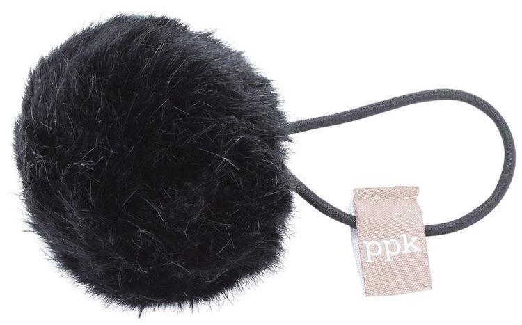 Peppercorn Kids Fur Pom Pom Hair Tie - Black
