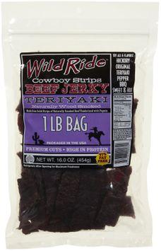 Wild Ride Beef Jerky Cowboy Strips, Teriyaki, 16 oz Bag