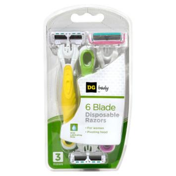 DG Body Women's 6-Blade Disposable Razors - 3 ct