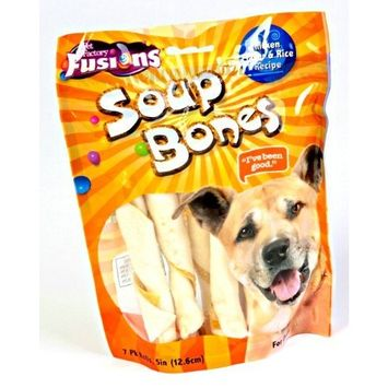 Pet Factory Fusions Soup Bones Twist Roll Dog Treats, Chicken and Rice