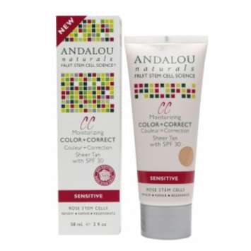 Andalou Naturals 1000 Roses CC Moisturizing Color + Correct SPF 30, Sheer Tan, 2 fl oz