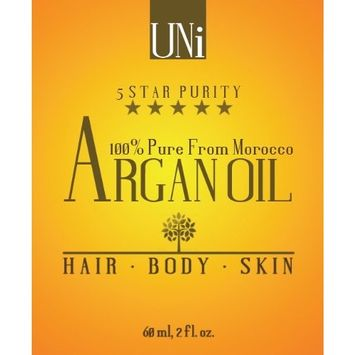 Uni Premium 100% Pure Organic Moroccan Argan Oil. Hair & Skin Treatment 2oz/60ml. TRIPLE Extra Virgin Grade. FAST ABSORBING. Certified Organic EcoCert & USDA. Cold Pressed Oil. For Dry Scalp, Nails, Cuticles. Excellent Daily Moisturizer. Guaranteed Results within Days. [60ml]