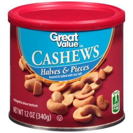 Great Value Cashews Halves & Pieces, 12 oz