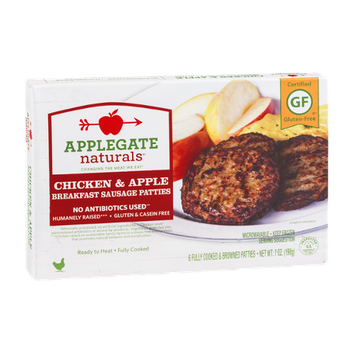Applegate Naturals Breakfast Sausage Patties Chicken & Apple - 6 CT