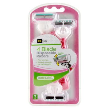 DG Body Women's 4-Blade Disposable Razors - 3 ct