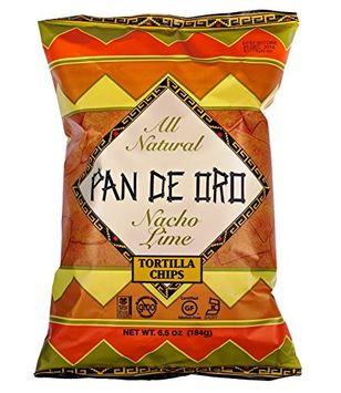 Pan De Oro Nacho Lime Tortilla Chips Case of 12 bags 6.5 oz per bag