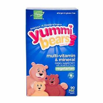 Hero Nutritionals Yummi Bears Multi-Vitamin and Mineral Vegetarian Fruit 90 Gummy Bears