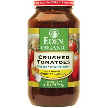 Eden Organic Crushed Tomatoes with Roasted Onion & Garlic, 25 oz, (Pack of 12)
