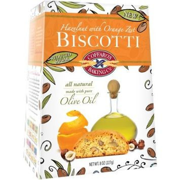 Coffaro's Baking Company Hazelnut with Orange Zest Olive Oil Biscotti, 8-Ounce Boxes (Pack of 3)