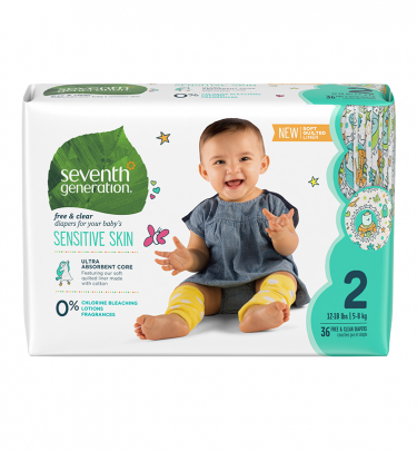 Seventh Generation Free & Clear Size 2 Baby Diapers