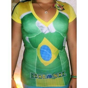 FRESKO SOCCER WEAR Fresko Stretch Spandex Sexy Fit Ladies Brasil Brazil Jersey Size Small
