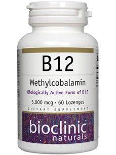 Bioclinic Naturals - B12 Methylcobalamin 5000 mcg. - 60 Lozenges