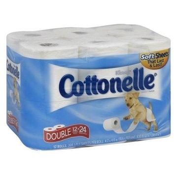 Cottonelle Double Rolls, 1-Ply, 12 rolls