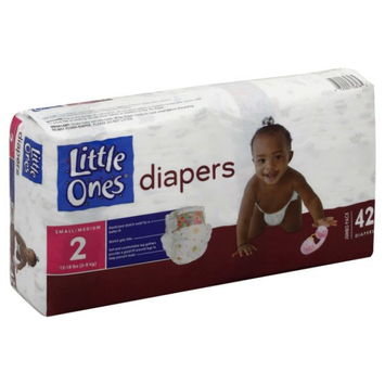 Little Ones Diapers, Small/Medium, Size 2 (12-18 lb), Jumbo Pack, 42 diapers