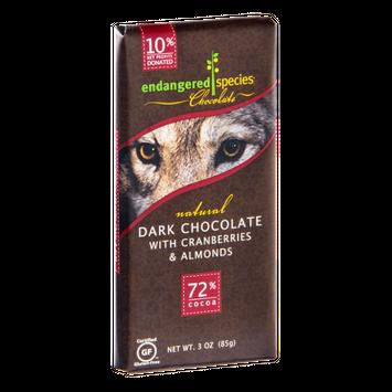 Endangered Species Chocolate Dark Chocolate With Cranberries & Almonds Bar Natural - Wolf