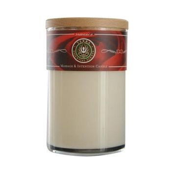 ROMANCE MASSAGE & INTENTION SOY CANDLE 12 OZ TUMBLER. A BLEND OF ROSE, SANDALWOOD, PATCHOULI, YLANG YLANG & PALMAROSA WITH MOONSTONE GEMSTONE. BURNS APPROX. 30+ HOURS for UNISEX