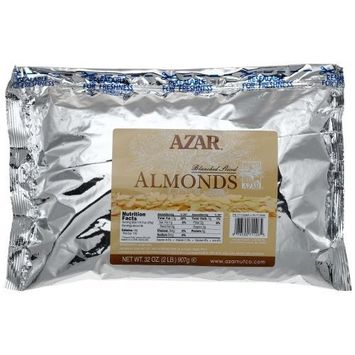 Azar Nut Company Almonds Blanched, Sliced Raw, 32-Ounce Resealable Bag