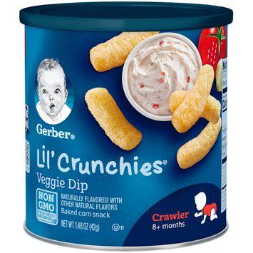 Gerber Lil' Crunchies Baked Corn Snack, Veggie Dip, 1.48 oz