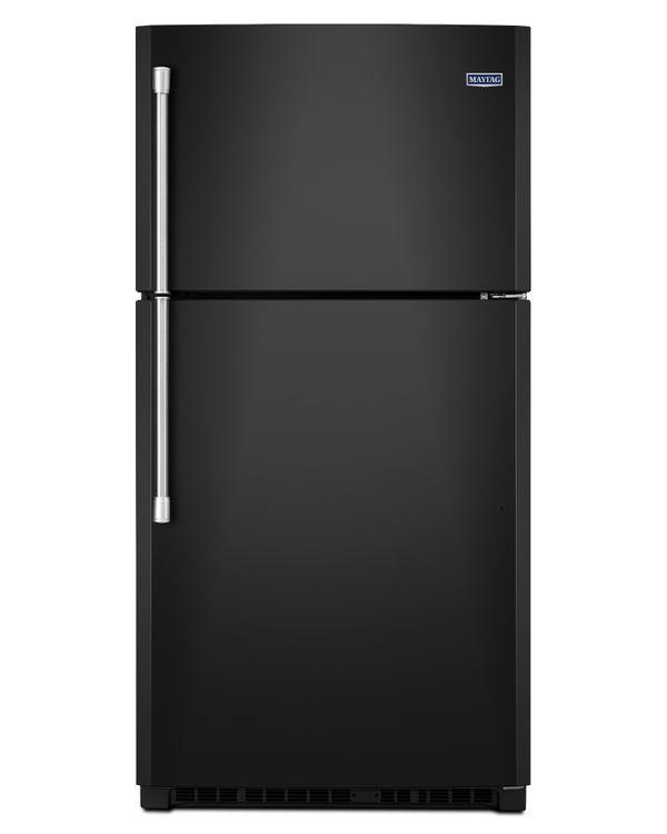 Maytag MRT711BZDE 21.2 cu. ft. Top-Freezer Refrigerator with 3 Shelves, 1 Fixed Full-Width Gallon Door Bin, 3 Adjustable Partial-Width Gallon Door Bins, 1 Fixed Full-Width Glass Freezer Shelf and BrightSeries LED Lighting: Black