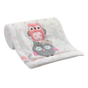 Lambs & Ivy(R) Family Tree Coral/Gray/Gold Owl Blanket