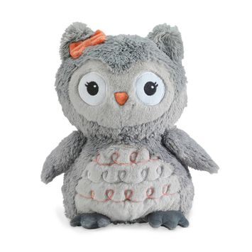 Lambs & Ivy(R) Family Tree Coral/Gray/Gold Owl Plush Owl - Izzy