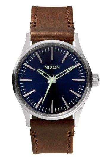 Nixon Sentry 38 Leather (Blue/Brown) Watch
