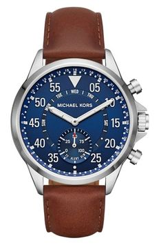 Michael Kors Gage Silver-Tone And Leather Hybrid Smartwatch