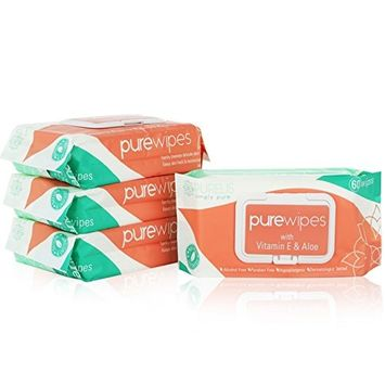 Purelis Unscented Baby Wipes Sensitive & Hypoallergenic - 60 Pack. Intimate Wipes for Women PH Balanced. Thick Fresh Wipes with Resealable Snap Cap...