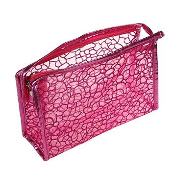 TOOGOO(R) Powder Decor Zip Up Make Up Mesh Plastic Pouch Bag Fuchsia For Lady