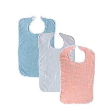 3 Pack Terry Adult Bib with Velcro Closure (White, Light Blue, Pink)
