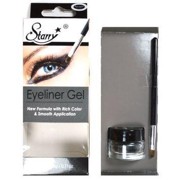 1 STARRY LONG LASTING WATERPROOF EYELINER GEL WITH BRUSH #01 BLACK ASPHALT + FREE EARRING by