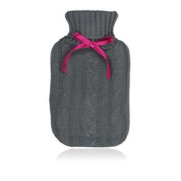 NPW Mini Hot Water Bottle, Grey Cable Knit