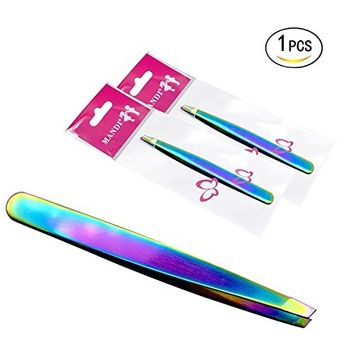 Healthcom Hair Removal Tweezers Stainless Steel Eyebrow Tweezers Professional Slant Tip Tweezer Skin Care Tweezers Tools for Men and Women,1 Pcs