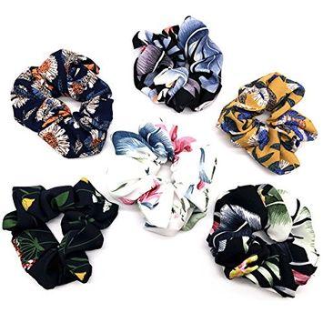 PACK of 6 pcs Women's Chiffon Flower Hair Scrunchies Ponytail Holder Hair Elastics Ties