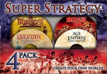 Pc Games Super Strategy Atari PC Video Game Lot - (Age of Empires Gold / Civilization II / Risk II / Majesty Fantasy Kingdom Sim )
