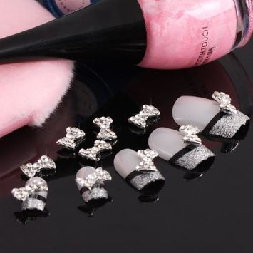 350buy 10 x 3D Clear Alloy Rhinestones Bow Tie Nail Art Glitters Slices DIY Decorations