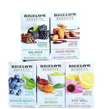 Balance, Good Mood, Radiate Beauty, Refresh, Stay Well - Variety Pack of Bigelow Benefits Tea Bags - Bundle of 5 Boxes