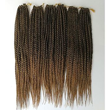 Una 14Inch Crochet Braids Box Braids (6 Pieces,20Root/Piece) Crochet Latch Hook Braiding Hair Extension (T 1B/27)
