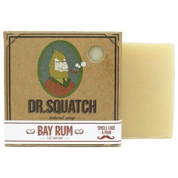 Bay Rum Soap by Dr. Squatch – Men's Naturally Fresh Scented Natural Bar Soap with Bay Rum, Kaolin Clay, Shea Butter – Organic Handmade in USA [#2 Bay Rum]