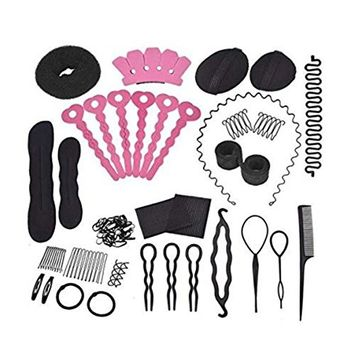 1 Set 20pcs As Picture Hair Styler Styling Tool Maker Holder Barrette Clip Base Comb Braiding Bump Foam Pads Ponytail Roll Rings Pins Hairpin Bump Up Inserts Elastic Rubber Band Stickers DIY