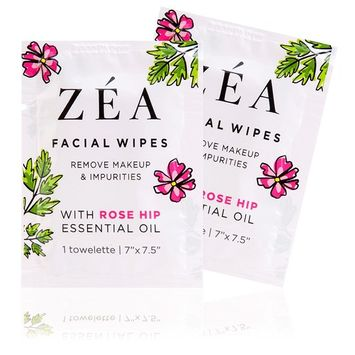 ZEA Makeup Remover Wipes | Infused with Rose Hip Essential Oil | Alcohol-Free & Paraben-Free | New & Improved | 50 Individually Wrapped Wipes [Individually Wrapped Wipes]