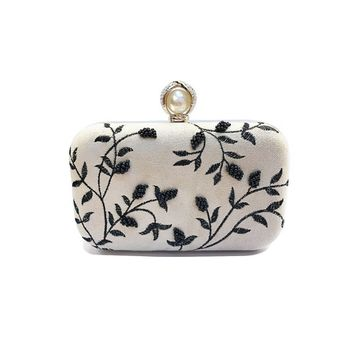 Embroidered Black Berry Clutch-Natural