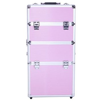 Teekland Cosmetic Case,Pro 3-in-1 Aluminum Rolling Cosmetic Makeup Train Case Wheeled Box Organizer