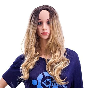 SWACC 24-Inch Long Curly Wave Synthetic Full Wig, Dark Brown Root Ombre to Blonde Highlights Color Hair Piece for Women with Wig Cap