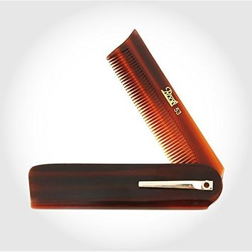 Roots Hair care Brown Folding Pocket Comb with Clip fined toothed seamless comb round tip low pr