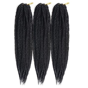 Una 14Inch Crochet Braids Box Braids (3 Pieces,20Root/Piece) Crochet Latch Hook Box Braiding Hair Extension (1B)
