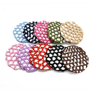 Pack Of 10 Fashion Bun Cover Snood Hair Net Ballet Dance Skating Chic Crochet With Pearl For Women Girl ,Assorted Color